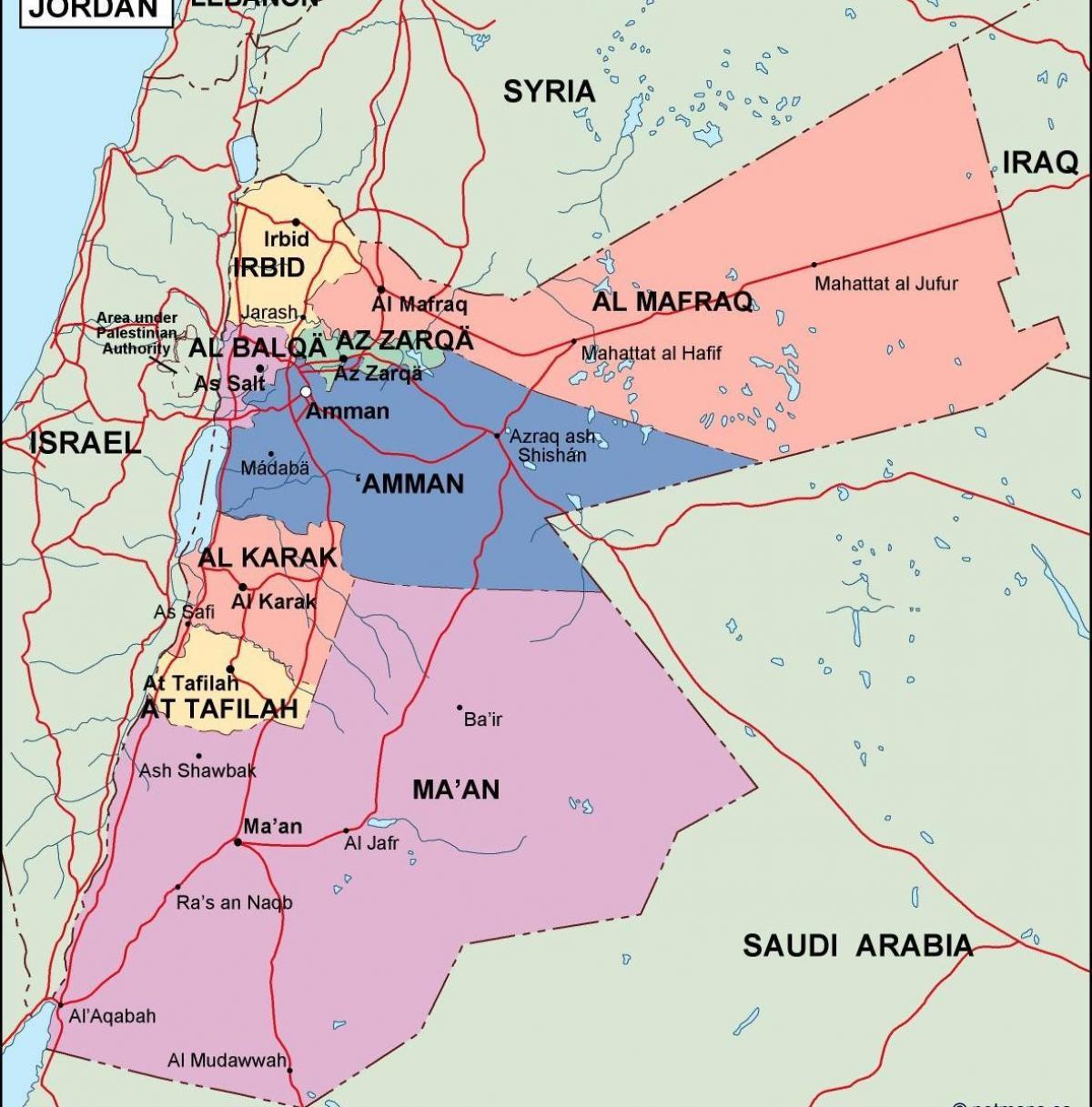 Jordania Mapa Polityczna Mapa Jordanii Polityczne Azja